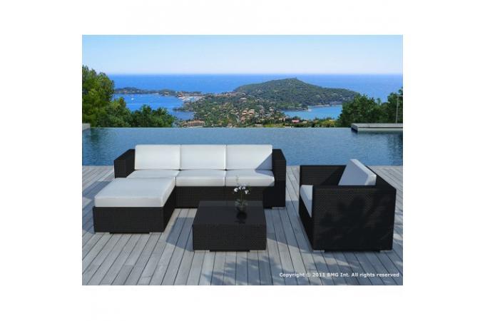 Salon de jardin en r sine tress e noir et blanc lagon for Salon de jardin en resine tressee noir pas cher
