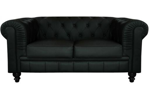 Canapé chesterfield simili noir capitonné 2 places
