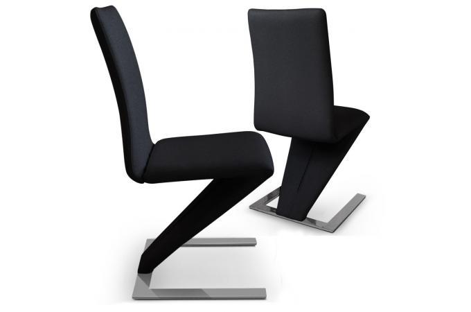 Lot de 2 chaises design cuir noir cobra chaises design pas cher - Chaise cuir noir design ...