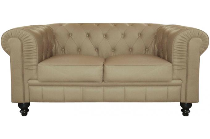 canap chesterfield cuir taupe capitonn 2 places declikdeco. Black Bedroom Furniture Sets. Home Design Ideas