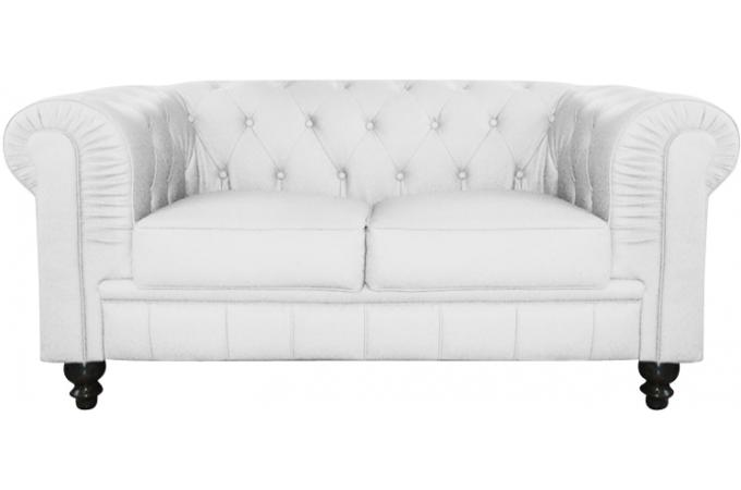 Canap chesterfield cuir blanc capitonn 2 places declikdeco for Canape 3 place plus 2 place