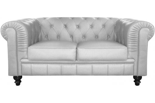 Canapé chesterfield simili argent capitonné 2 places