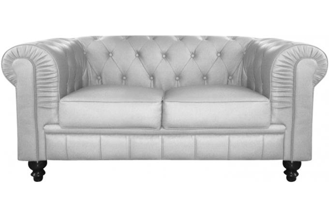 canap chesterfield cuir argent capitonn 2 places. Black Bedroom Furniture Sets. Home Design Ideas