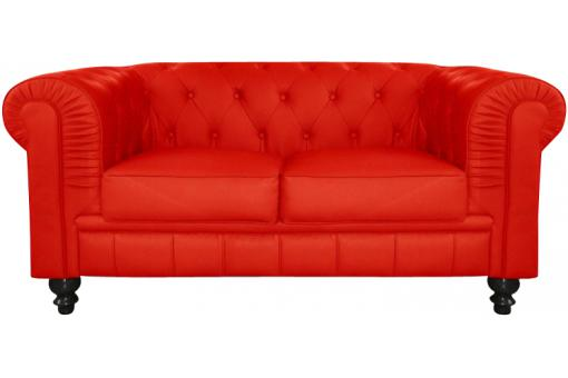 Canapé chesterfield imitation cuir rouge capitonné 2 places