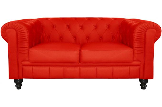 Canapé Chesterfield Cuir Rouge Capitonné Places Declikdeco - Canapé chesterfield simili cuir