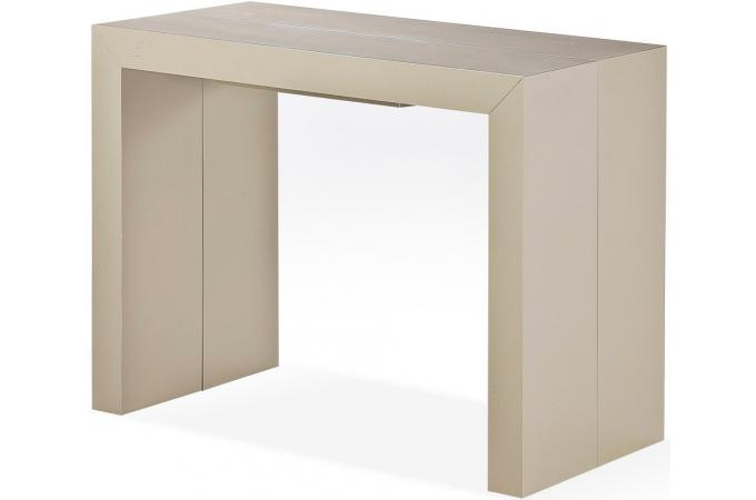 Table console extensible bois massif taupe clair 3 - Table a manger taupe ...