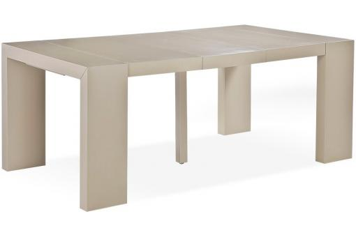 Table console extensible bois massif taupe clair 3 - Table console extensible bois massif ...