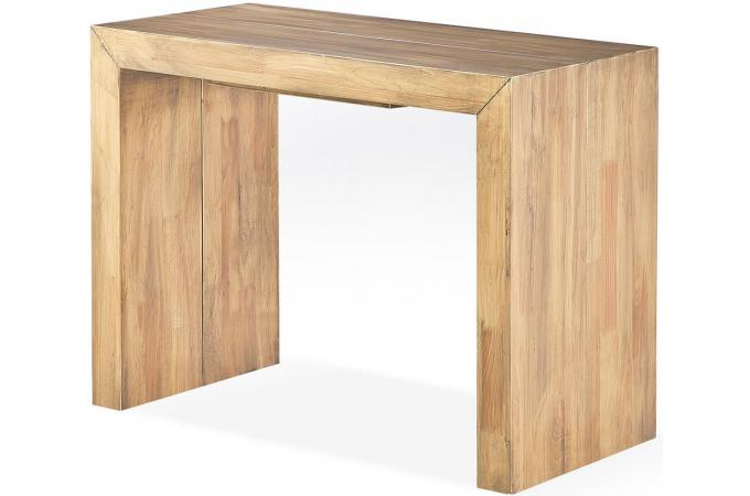 table console extensible en bois massif cappucino. Black Bedroom Furniture Sets. Home Design Ideas