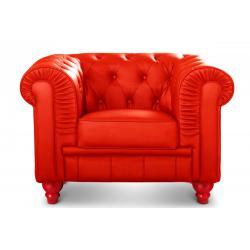 Fauteuil Chesterfield simili Rouge