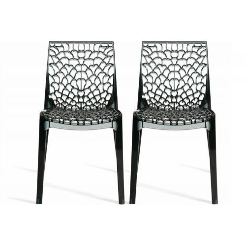 Lot de 2 Chaises Design Grises Transparentes GRUYER