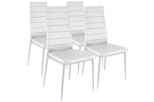 Lot de 4 Chaises Design Imitation Cuir Blanc Houston