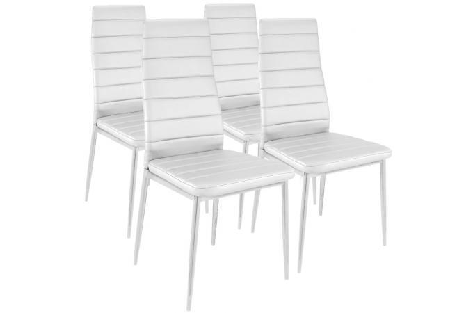 Lot de 4 chaises design simili cuir blanc houston - Lot de 4 chaises design ...