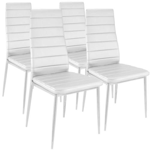 Lot de 4 Chaises Design Baroque  Blanc Houston - Lot 4 chaises design