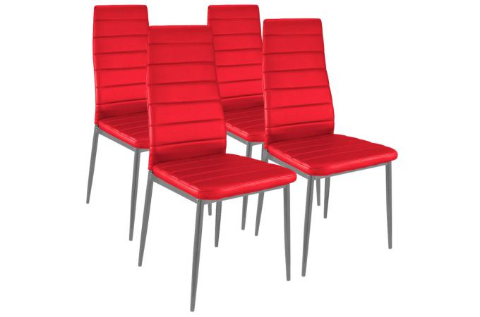Lot de 4 chaises design simili cuir rouge houston for Chaise cuir rouge