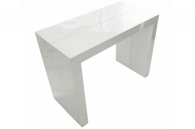 Console extensible blanc mat elegant table console for Console modulable ikea