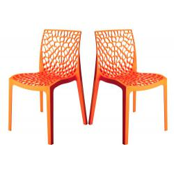 Lot de 2 Chaises Design Oranges GRUYER