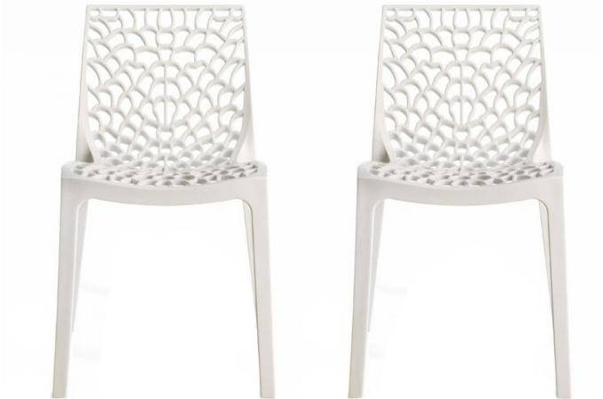 Lot de 2 chaises design blanche gruyer chaises design - Lot de chaise design pas cher ...