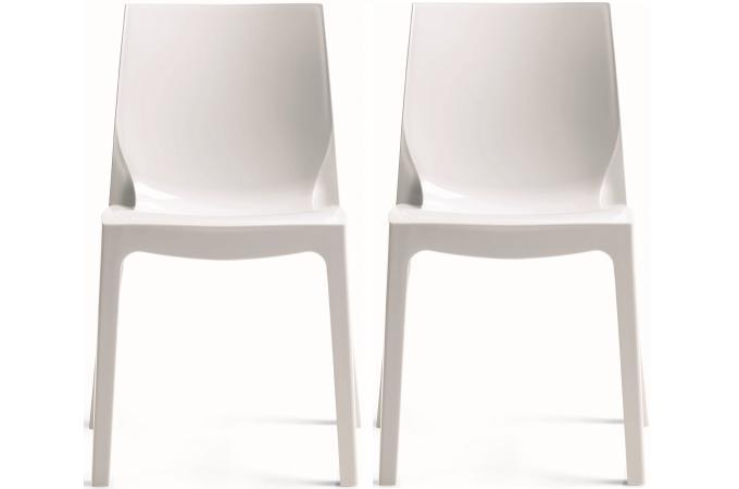 Lot de 2 chaises blanches laqu victory chaises design - Chaises plexiglass pas cher ...