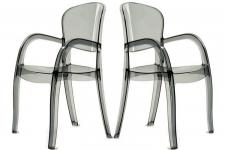 Lot de 2 chaises fumées transparentes VICTOR - Meuble transparent design
