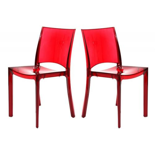 Lot de 2 Chaises Rouge Transparent NILO