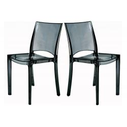 Lot de 2 Chaises Gris Transparent NILO