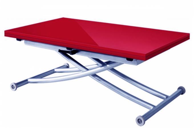 Table Basse Relevable Et Transformable Rouge Laqu