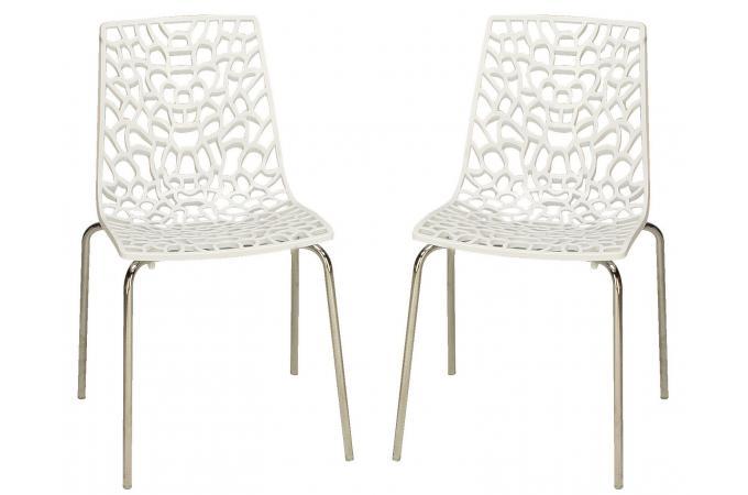 Lot de 2 chaises blanches traviata chaises design pas cher for Lot de 8 chaises pas cher