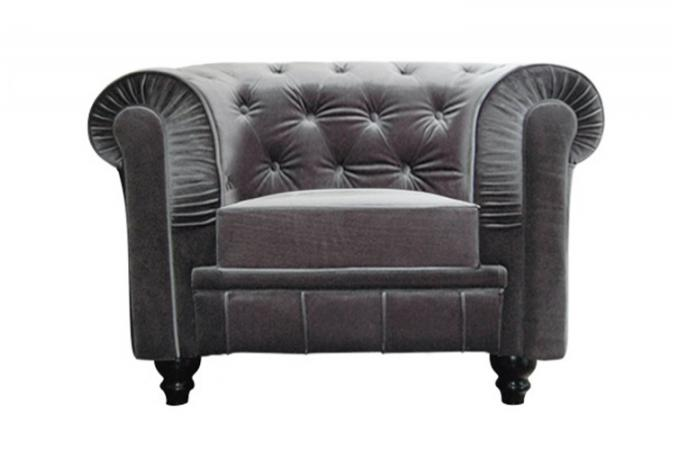 fauteuil chesterfield velours gris fauteuils classiques. Black Bedroom Furniture Sets. Home Design Ideas