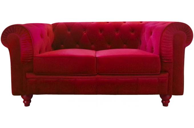 Canap chesterfield velours rouge 2 places canap s 2 et for Le canape rouge