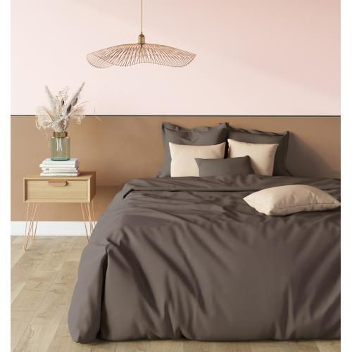 Taie d'oreiller polycoton TERTIO® - taupe - Promos chambre lit
