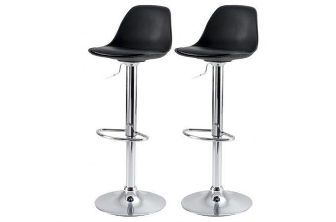 tabouret de bar noir simili cuir rosie tabourets de bar pas cher. Black Bedroom Furniture Sets. Home Design Ideas