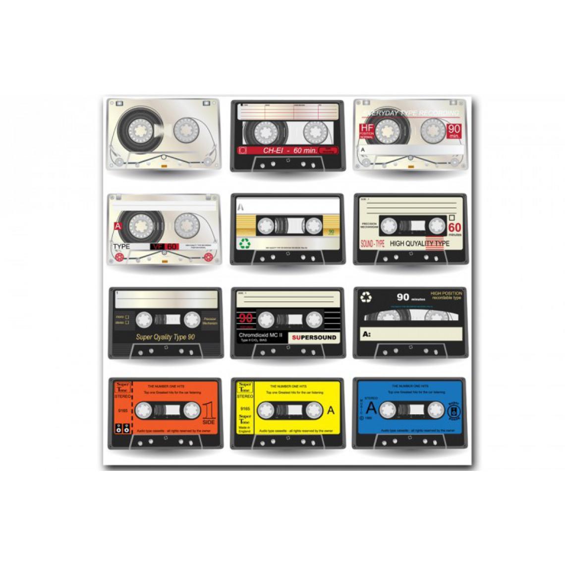 Tableau Disco Music Cassette Retro 60X60 cm