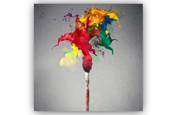 Tableau abstrait coup de pinceau 80x80 cm tableaux - Tableau colore design ...
