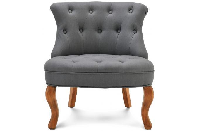 Fauteuil crapaud lin gris antoinette fauteuils classiques pas cher - Fauteuil crapaud lin gris ...