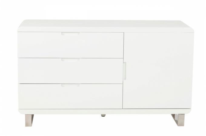 meuble laqu blanc 3 tiroirs paulo meubles de rangement. Black Bedroom Furniture Sets. Home Design Ideas