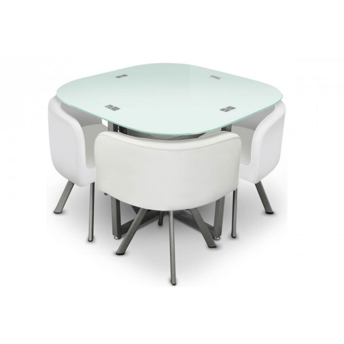 table repas damier avec 4 chaises blanche