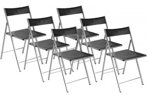 Lot de 6 chaises pliantes noires bilbao chaise pliante for Lot de 6 chaises noires
