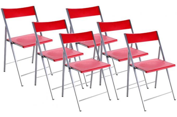 Lot de 6 chaises pliantes rouges bilbao chaise pliante - Chaise pliante pas cher lot ...