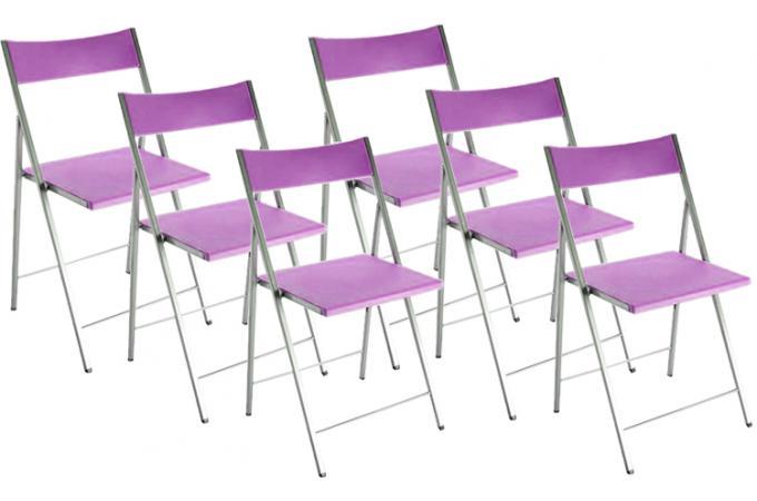 Lot de 6 chaises pliantes violettes bilbao chaise - Chaise pliante pas cher lot ...