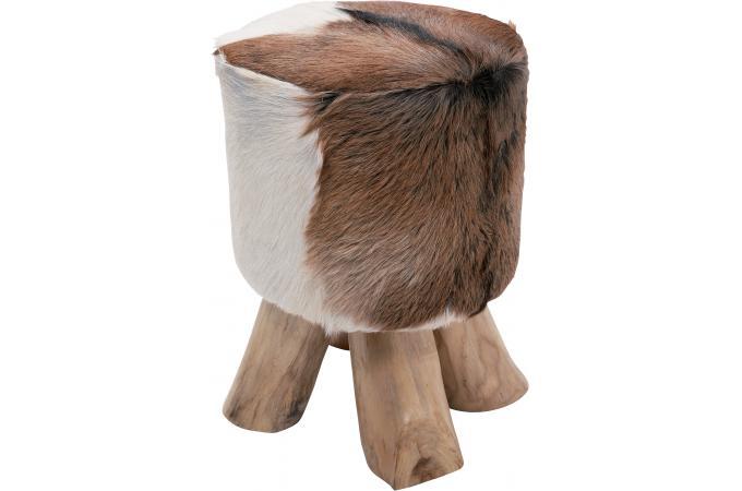 tabouret marron bois et fourrure mountain petit tabouret pas cher. Black Bedroom Furniture Sets. Home Design Ideas