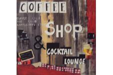 Plaque bois Coffee shop 100X100 cm, deco design