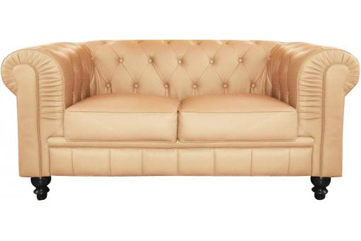 Canapé Chesterfield Capitonné Beige 2 Places