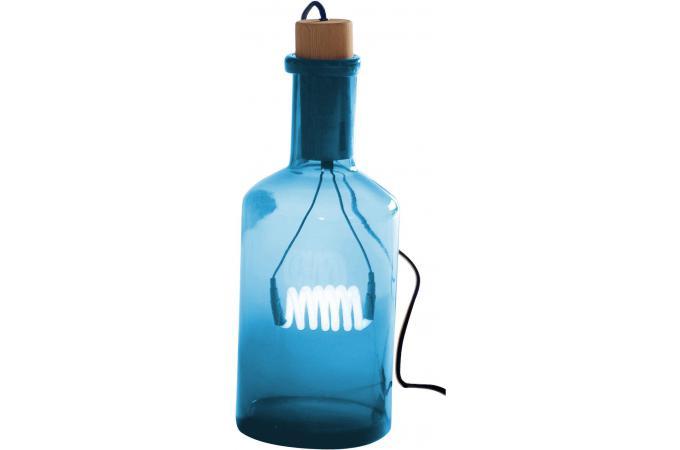 lampe en verre bleu bouteille lucie lampe poser pas cher. Black Bedroom Furniture Sets. Home Design Ideas