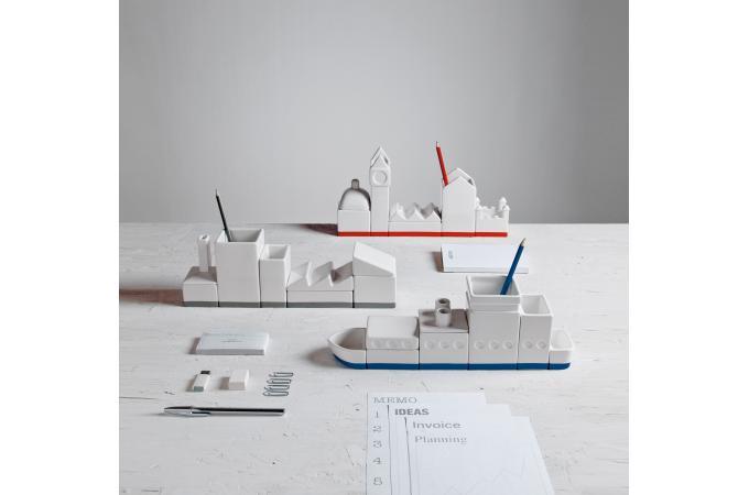 Set de rangement blanc porcelaine bateau seletti for Accessoire de bureau pas cher