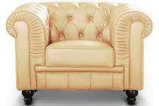 Fauteuil Chesterfield Elton Beige - Fauteuil chesterfield design