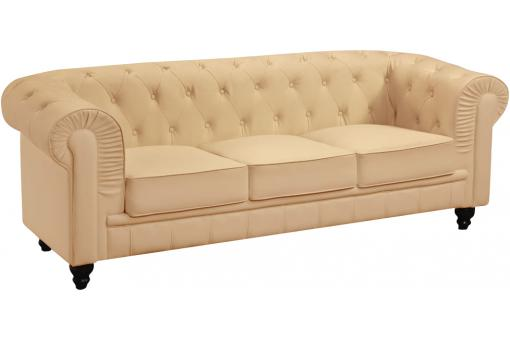 Canapé 3 places Gentleman Chesterfield Beige
