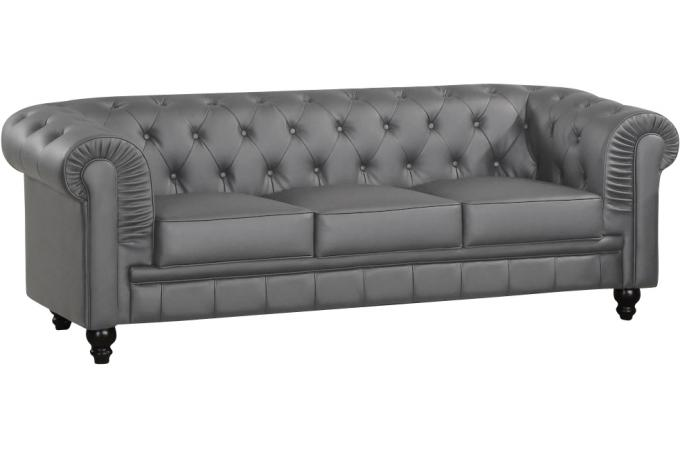 Canape 3 Places Gentleman Chesterfield Gris Canape Chesterfield