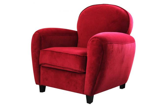 fauteuil club en velours rouge chicago fauteuil design pas cher. Black Bedroom Furniture Sets. Home Design Ideas