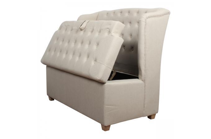 banquette coffre 2 places beige lin danube banquette m ridienne pas cher. Black Bedroom Furniture Sets. Home Design Ideas