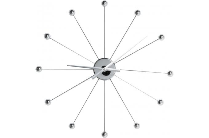 Horloge murale argent e acier rochefort horloge design - Horloge murale geante pas cher ...